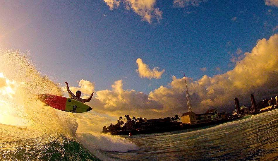 "Keanu Asing, Kewalo's. Nice air, and I love the light. Photo: <a href=\""http://www.conorwavephoto.smugmug.com\"">Conor Kennedy</a>"