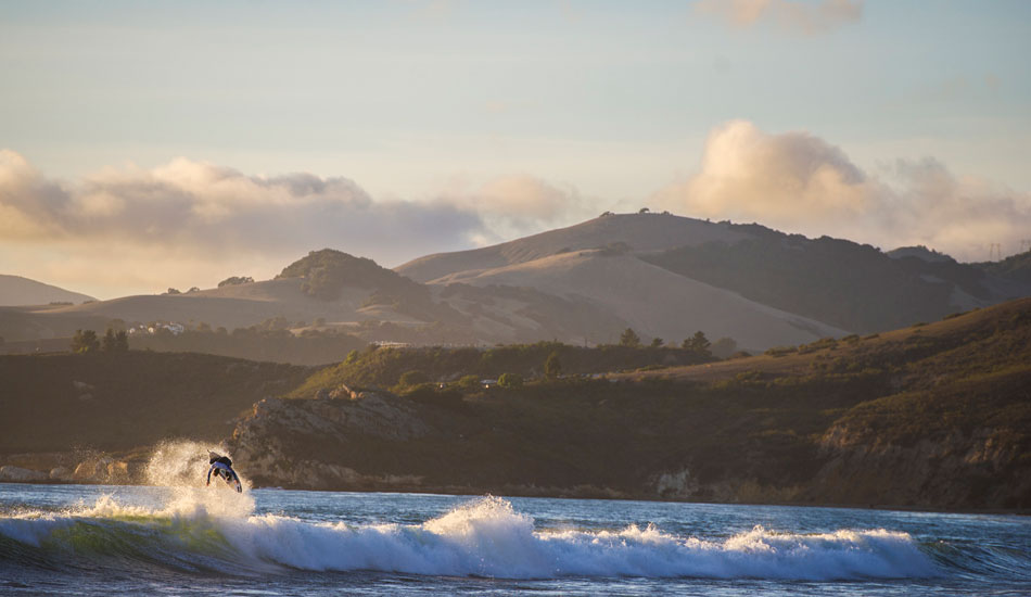 "This is Sepp Bruhwiler making a solid air on the Central Coast of California. November 2012. Photo: <a href=""http://www.dylangordon.com/\"" target=_blank>Dylan Gordon</a>"