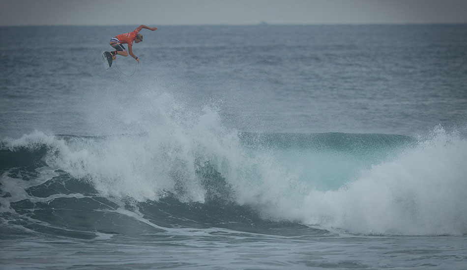 "John John Florence threw what some are calling the biggest air in competition ever. And, oh yeah, he got a 10 for this. Photo: <a href= ""http://oakleyprobali.com/photos/\"" target=_blank>Hennings</a>"