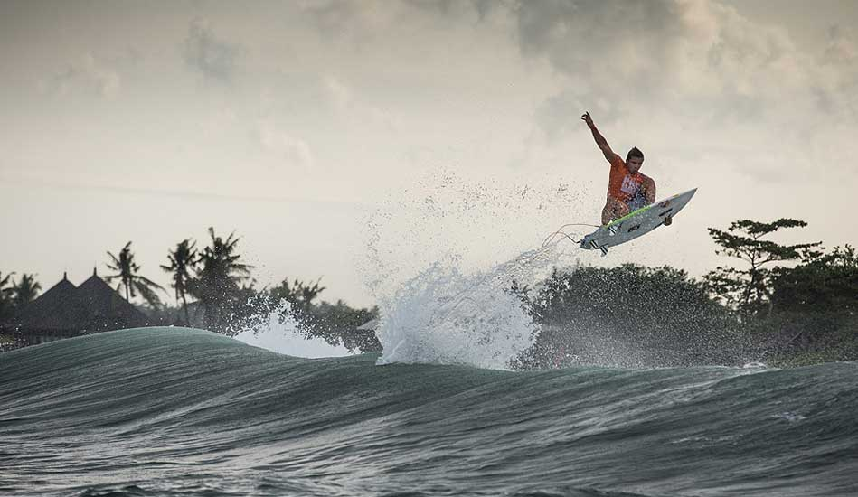 "Julian Wilson boosting way out on Day Two. Photo: <a href= ""http://oakleyprobali.com/photos/\"" target=_blank>Hennings</a>"