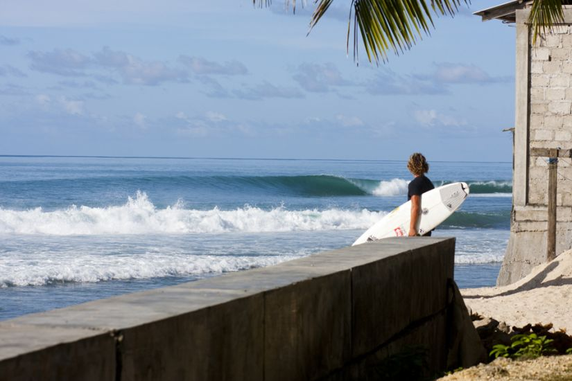 "Nias. This image, of a reefbreak on Nias, is one that really makes me want to go surfing. The wave is perfect, conditions are still, there is no one out. How quick would you be out there? Photo: <a href=""http://www.sparkesphoto.com/\"" target=_blank>David Sparkes</a>"