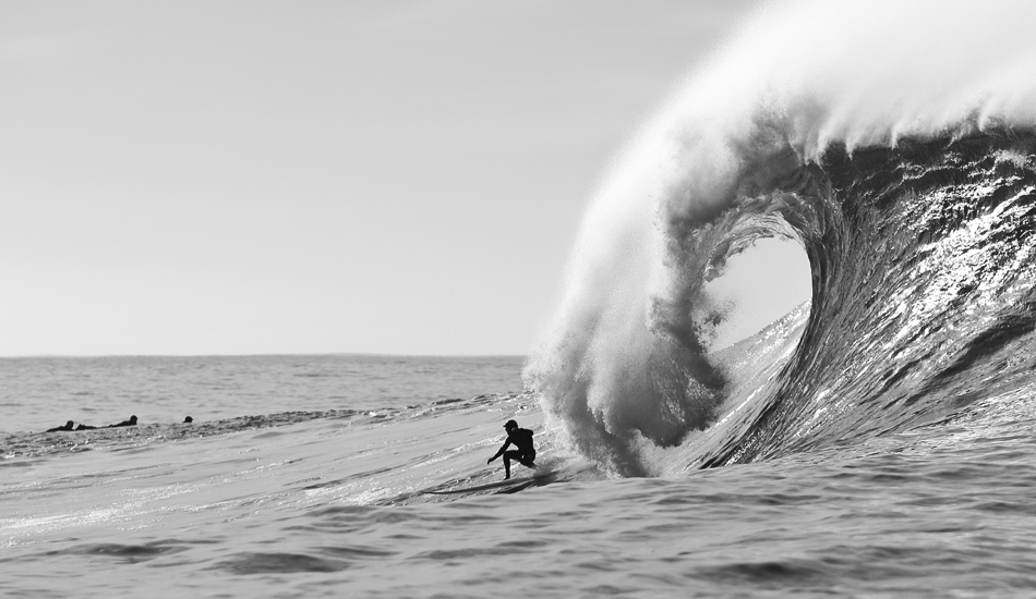 "Tyler Fox stayomg ahead of the lip at Mavericks. Photo: <a href=""http://instagram.com/migdailphoto\""> Seth Migdail</a>"