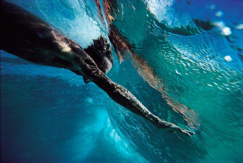"1991. Mark Cunningham on an underwater takeoff at Ehukai Beach. Photo: <a href=\""http://www.artbrewer.com\"" target=_blank>Art Brewer</a>"