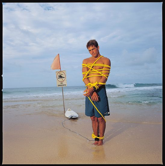 1995. Kelly Slater. Shoot for Interview Magazine after Kelly\'s 6th World Surfing Championship.