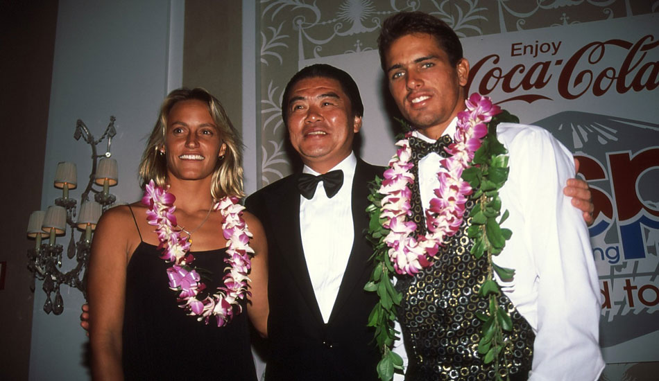 "A younger Lisa Andersen and Kelly Slater, post lei. Photo <a href=""http://www.aspworldtour.com\"">courtesy of the ASP</a>"