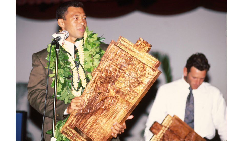 "A young Sunny Garcia gives his acceptance speech after raising the Triple Crown trophy. This was one of his six Triple Crown titles – the most ever (\'92-\'94, \'99, \'00, \'04). Photo <a href=""http://www.aspworldtour.com\"">courtesy of the ASP</a>"