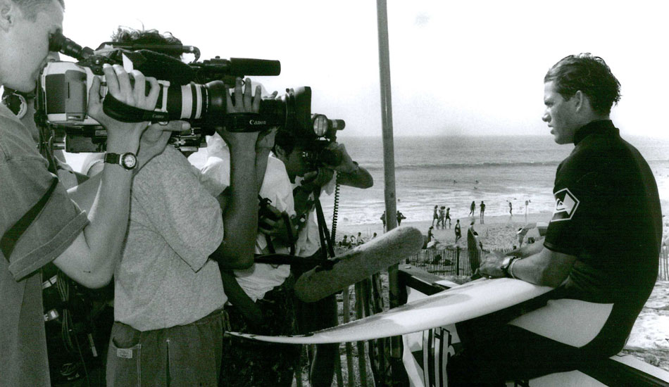 "A young Kelly Slater in front of cameras. This scene would become a fixture in his competitive life forever after. Photo <a href=""http://www.aspworldtour.com\"">courtesy of the ASP</a>"