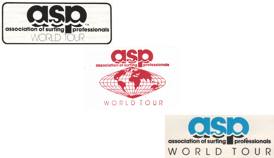 "1990-1992: These three years saw three different logos. Images <a href=""www.aspworldtour.com\"">courtesy of the ASP</a>"