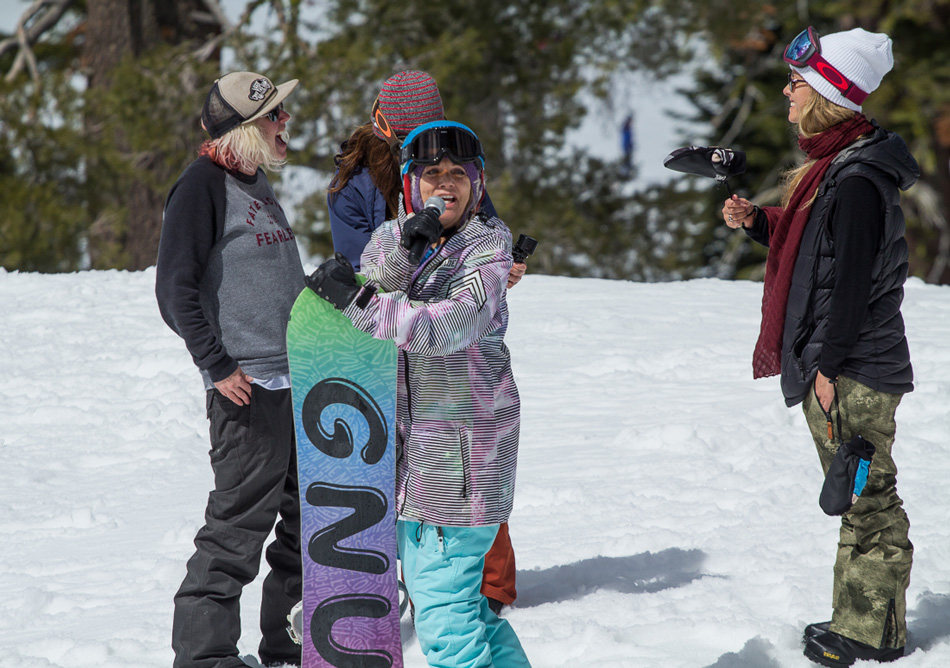 Tahoe legend Donna Vano has mentored many athletes over the years, Jamie included. She got on the mic during the big air expression session. PC: Steve Andrews