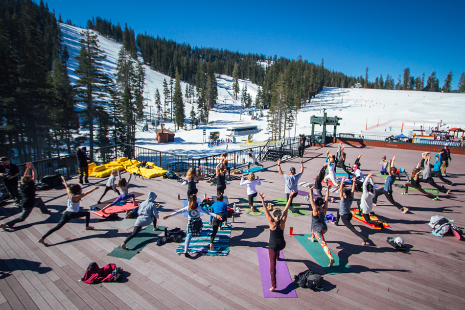 The day\'s festivities kicked off with a 2-hour yoga-marathon on the roof at Sierra at Tahoe. PC: Mahfia.tv
