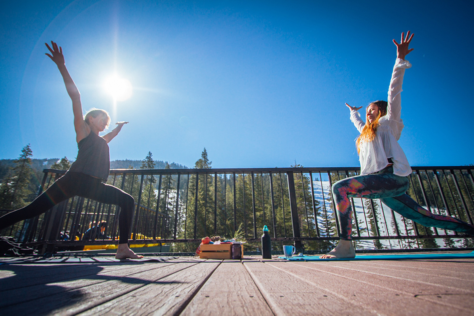 Megan Pischke and Sherry McConkey led the group through 108 sun salutations, in honor of the 108 chakras in the body. PC: Mahfia.tv