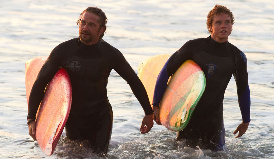 Gerard Butler and Jonny Weston spent a great deal of time learning to surf, and Gerard even got to tow into Maverick\'s. Pretty crazy. Photo: 20th Century Fox