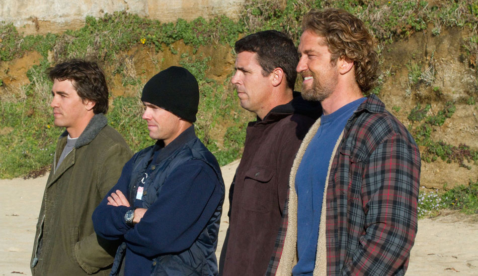Chasing Mavericks got input from some of the world\'s best big-wave surfers. From Left to Right: Greg Long, Zach Wormhoudt, Peter Mel, and actor Gerard Butler. Photo: 20th Century Fox