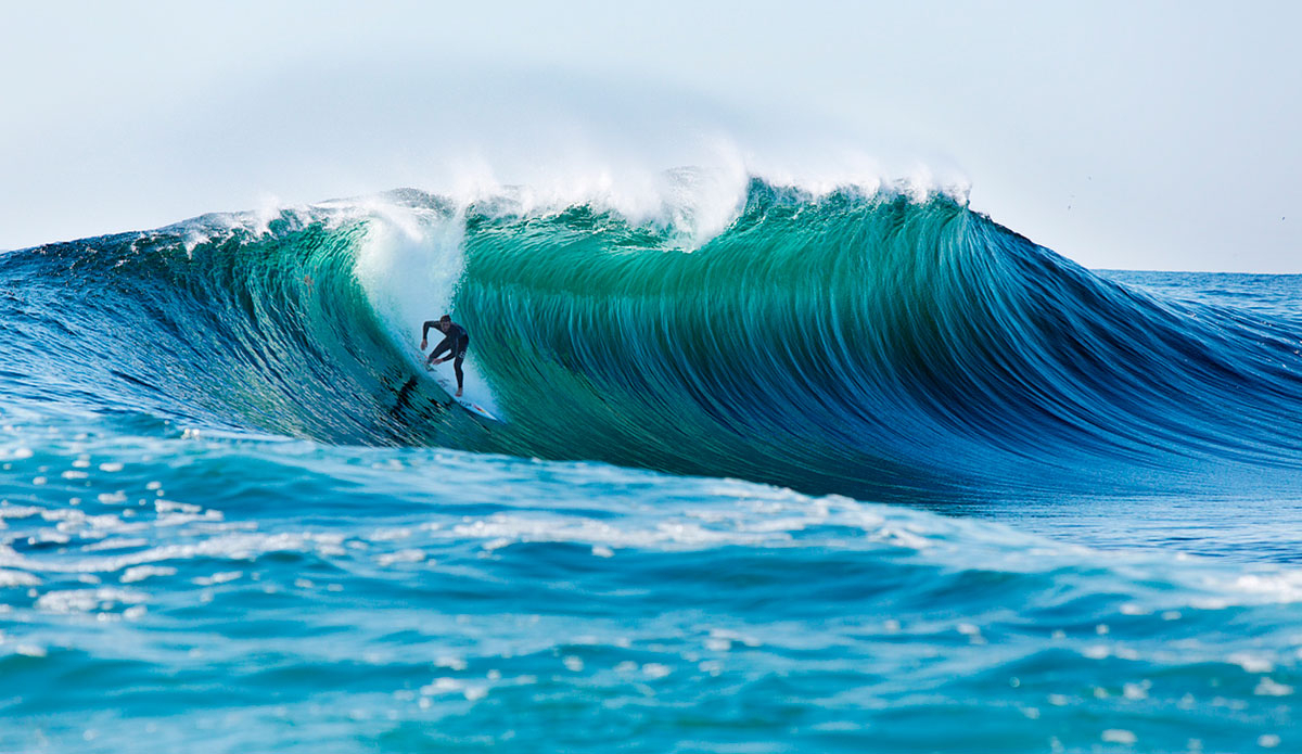 "Ian Walsh slips into Cortes Bank. Photo: <a href=""http://www.briannevins.com\"">Brian Nevins</a>"