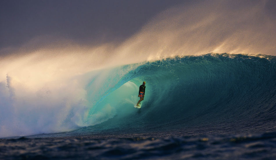 """I had not been to Fiji for many years and this was a pretty different trip as I didn't stay in the action packed islands, namely Namotu or Tavarua. Instead, I was on a small, rocky boat stationed near the judging tower at Cloudbreak. We got to see when it turned on out there. This shot is a result of that boat and a little knowledge knowing that late this day would be good. Here, Nat Young, Rookie of the Year stole the wave of the afternoon and gave me one of my favorite photos to date. Photo:<a title=""""Nate Smith Surf Photos"""" href=""""http://www.natesmithphoto.com/"""" target=""""_blank"""">Nate Smith</a>from <a href=""""http://www.theinertia.com/surf/highlights-from-the-weirdest-year-ever/"""" target=""""_blank"""">Highlights from the Weirdest Year Ever</a>"""