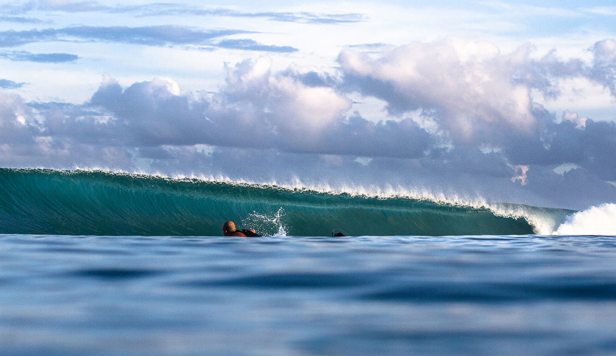 """Difficult to stay focused on paddling for the horizon when the clean-up sets are this damn pretty. Photo: <a href=""""http://johnbarton.net.au/"""">John Barton</a>"""