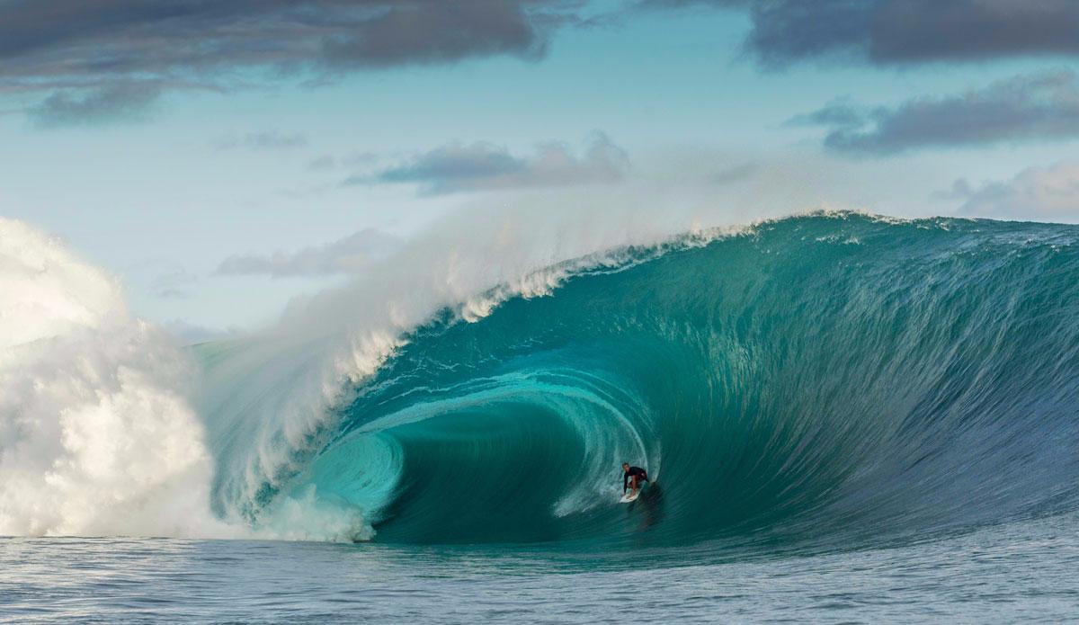 "French surf professional Marc Lacomare inside a ridiculously large barrel. Photo: <a href=\""https://instagram.com/alexlaurelphotographie\"">Alex Laurel</a>"
