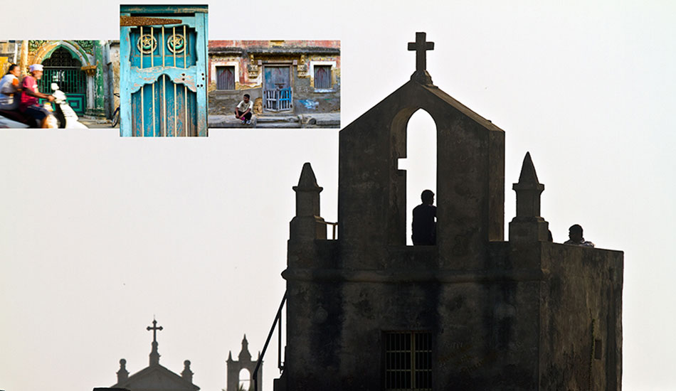 One of several Catholic chapels inside Diu Fort and the magnificent architectural heritage of Diu Town, slowly dissolving in the humid monsoon climate. Photo: Callahan/SurfExplore