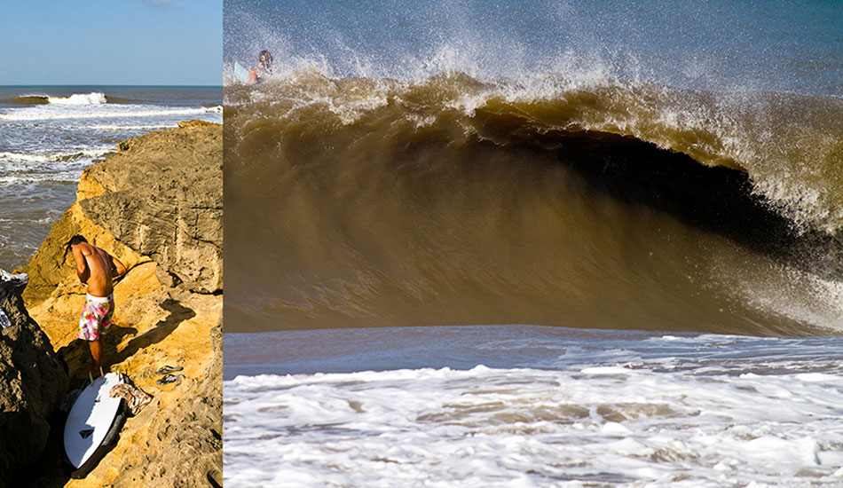 There are no maps of spots or surfguides for Diu Island. If you want to surf, you have to find the waves yourself. When a strong 16-second period groundswell arrived from the high latitudes of the Indian Ocean, this slab reef in front of a Hindu temple started showing. Photo: Callahan/SurfExplore