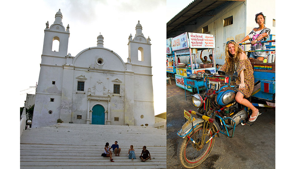 The Portuguese built several monumental Catholic churches in Diu. This one is now the Diu museum. BayBay and Valentina testing out a local motorcart at the night market. Photo: Callahan/SurfExplore