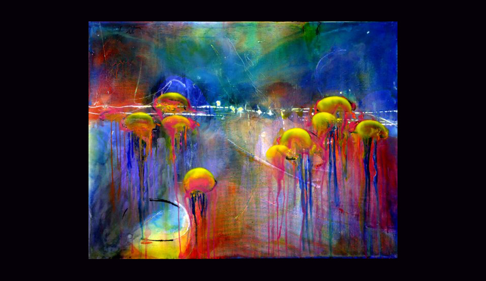 "Jellies IV, acrylic on canvas. Image: <a href=""http://fionableugallery.com/\"">Chase</a></em></strong>"