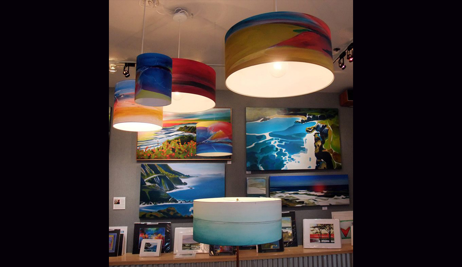 "Drum Barrel Pendant Lamps. Image: <a href=""http://fionableugallery.com/\"">Chase</a></em></strong>"