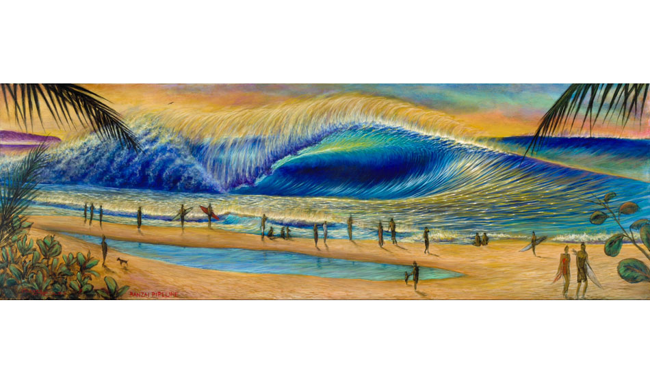 """Banzai Pipeline.\"" 2013. 24\"" x 72\"". Commission piece for Banzai Sushi Bar in Haleiwa."
