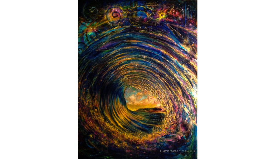 """Flowing in the Bowl.\"" Life\'s defining moments. 36\"" x 48\"". This one is about connections. Our connection to the ocean, to all living things, to source. Life is a flow. Being in the barrel is a great example of decision making and acting upon those decisions in an instant."