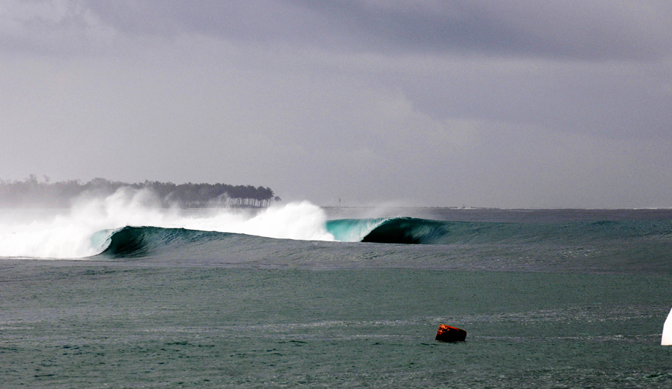 "This was shot in the Mentawai Islands right after our mate Joe Gaglione went head first into the reef, scalping himself. He ended up being rushed to a Singapore hospital to get 161 stiches. His selfless act left us with this empty line up all day! Photo: <a href=""http://www.jackdekortphoto.com/\"">Jack Dekort</a>"