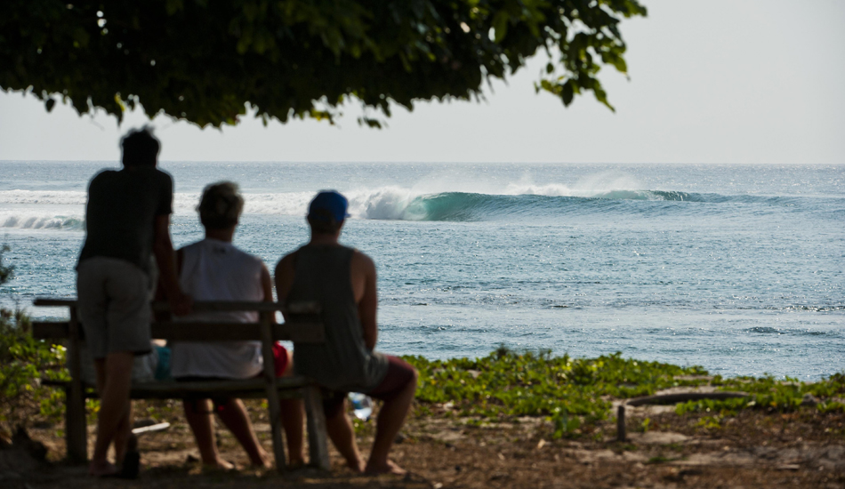 "A line up in Indonesia that is the most mechanical wave I\'ve seen. Photo: <a href=""http://www.jackdekortphoto.com/\"">Jack Dekort</a>"