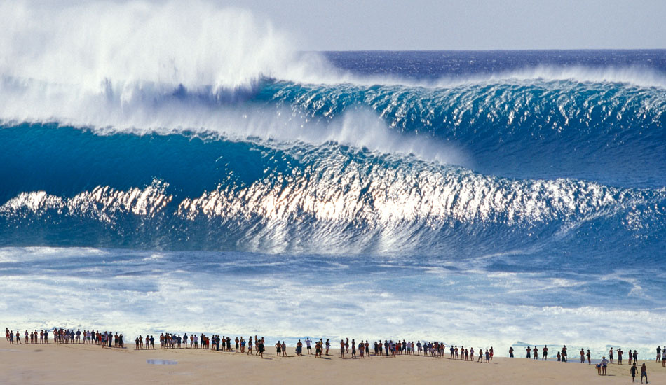 Pipeline on a bigger day. Those spectators should probably take a step or two back.