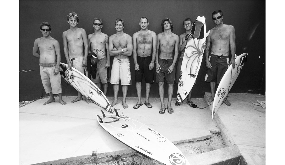"The first big trip I did on the magazine\'s dime was a two week trip to Cabo San Lucas. While the trip was a success, I since figured out that traveling with eight guys is not ideal.  Pictured left to right: Julian Mullins, Justin Quirk, Derek Dunfee, Micah Nickens, Brian Aresco, Sean Taylor, Chris Abad and Justin Matteson. Photo: <a href=""http://anthonyghigliaprints.com/\"">Anthony Ghiglia</a>"