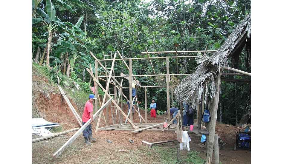 """Cafeteria construction. Photo: <a href=\""""http://giveandsurf.org/\"""">Give and Surf</a>"""