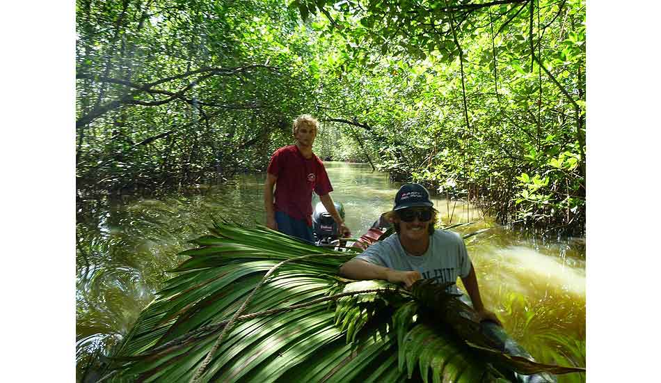 """Simple day of jungle trekking for roofing materials. Photo: <a href=\""""http://giveandsurf.org/\"""">Give and Surf</a>"""