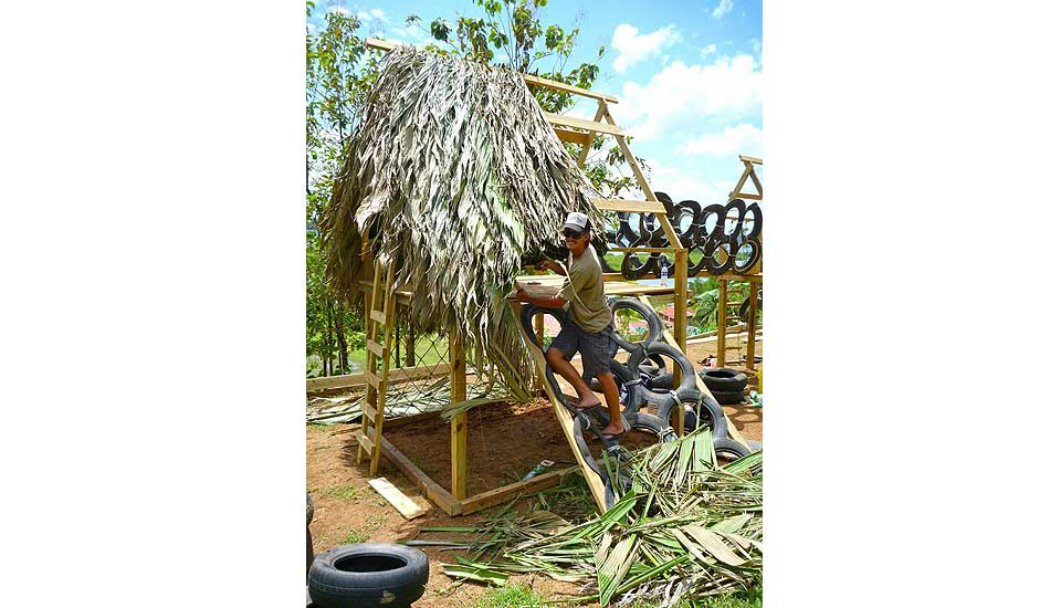 """Thatched roof for the playground. Photo: <a href=\""""http://giveandsurf.org/\"""">Give and Surf</a>"""