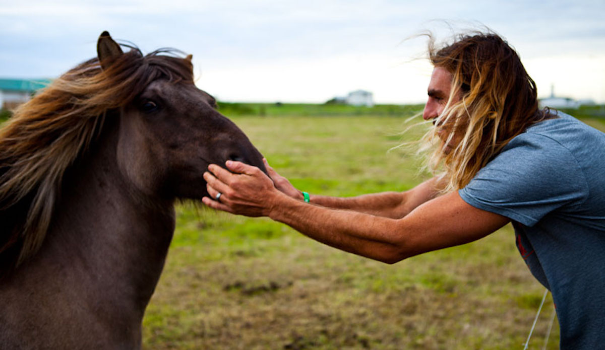 Aamion and a horse with 80s metal hair band locks. Photo: Cody Welsh
