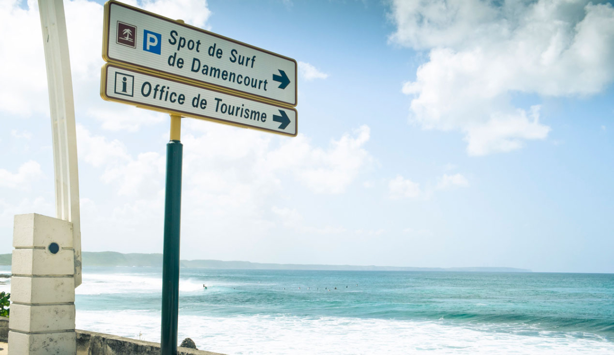 """In case there was any confusion as to where exactly the nearest surf break was located, this sign cleared it up in no uncertain terms. Not exactly a secret spot, but still uncrowded nonetheless. Go figure… Photo: <a href=\""""http://www.justinjay.com\"""" target=\""""_blank\"""">Justin Jay</a>"""