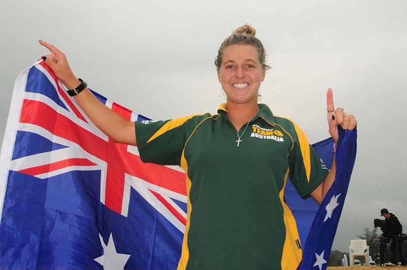 Philippa Anderson representing the winning Aussie team. Photo: ISA/Tweddle