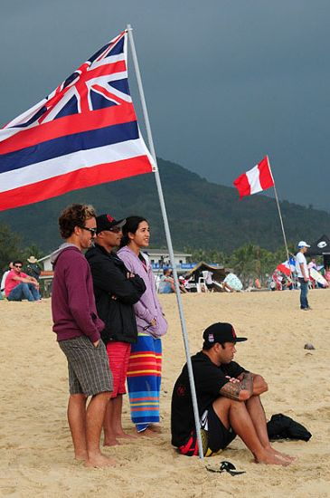Sunny Garcia and some of Team Hawaii watch the action unfold at the ISA China Cup. Photo: ISA/Tweddle