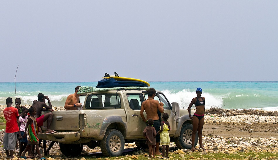 With only ten or so active surfers in the entire country, Haiti has many unridden lineups like this one near Jacmel. The only problem is the terrible roads, which make travel difficult even with a 4X4.  Photo: John Seaton Callahan.