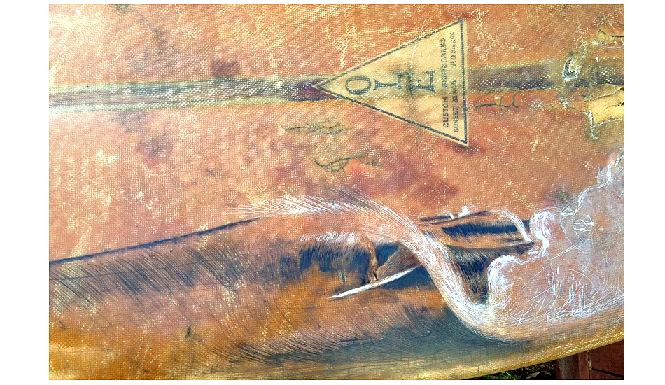 "A close-up of the scrimshaw of Nick surfing toward Malibu pier, on the last day he surfed it. Art: <a href=""http://peterspacek.wordpress.com/\"" target=\""_blank\"">Peter Spacek</a>"