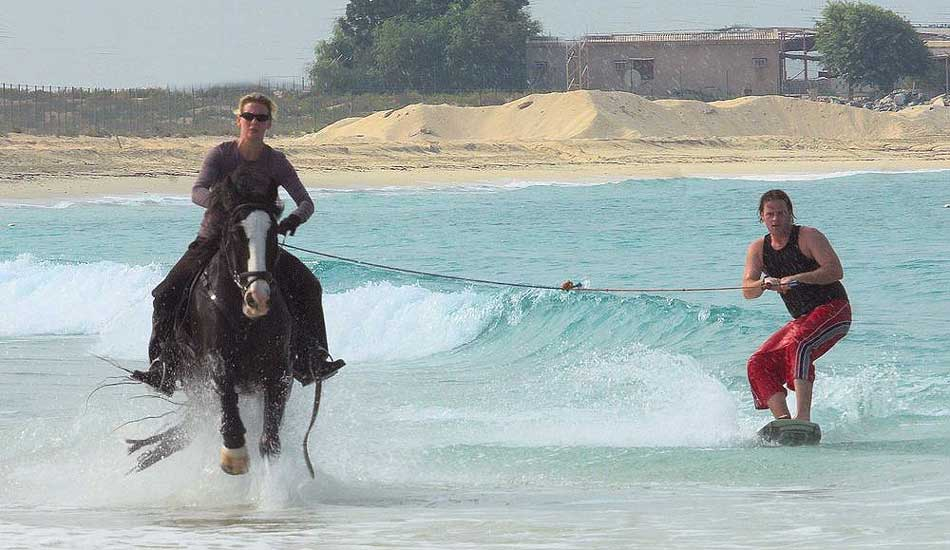 Horse surfing training--Zana and Dan near Dubai. Photo: British Horseboarding Association