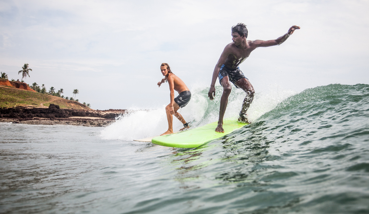 """Rob and Yousaf are sharing the weave during the Sunday surf club. Photo: <a href=\""""http://www.Godoberta.com\"""">GodoBerta.com</a>"""