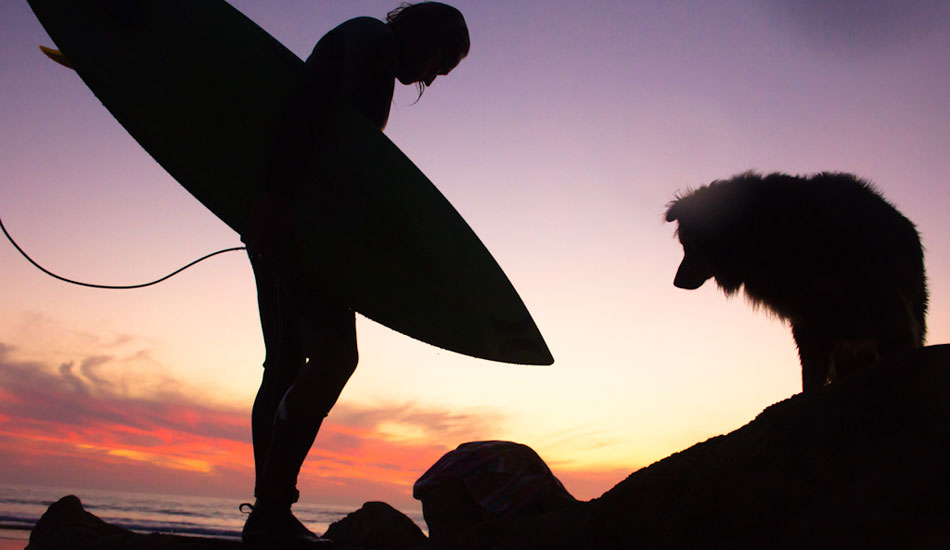 """From the water you could see Ginger sitting among the rocks watching each of us take wave after wave. Eric Soderquist greets Ginger as the last of the days light fades away. Not many dogs are willing to sit patiently as their owner scores an evening surf. Photo: <a href= \""""http://molyneuxphoto.com/\"""">Jean Paul Molyneux</a>"""