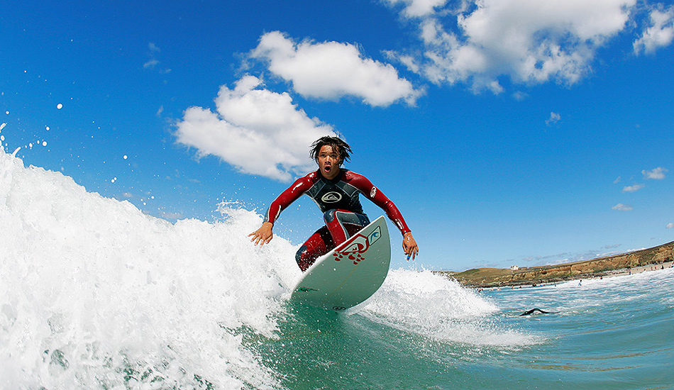 "Captured on a glorious summers day, British surfer, Jake Down, makes the most of the small waves. Photo: <a href=""http://www.jordanweeks.com/\"" target=_blank>Jordan Weeks</a>"