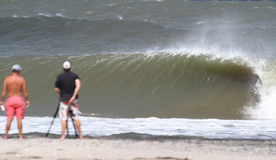Oregon Inlet. Here is the stretch where the beach takes a slight curve and the waves really start to wrap. There were still a lot of waves that didn't get ridden. Image: McCarthy