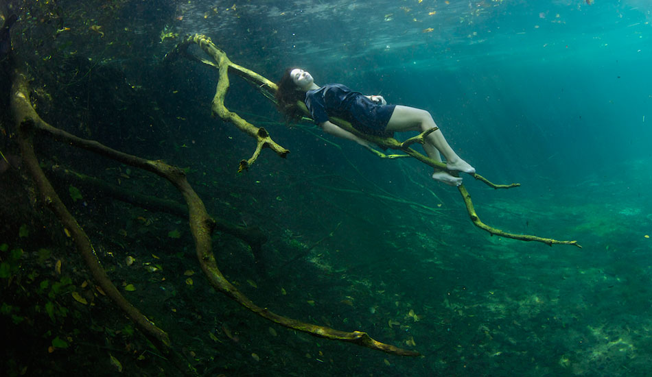 "Freediver Camila Jaber resting on a tree branch in Car Wash. Photo: <a href=""http://liabarrettphotography.com/\"" target=_blank>Lia Barrett</a>"