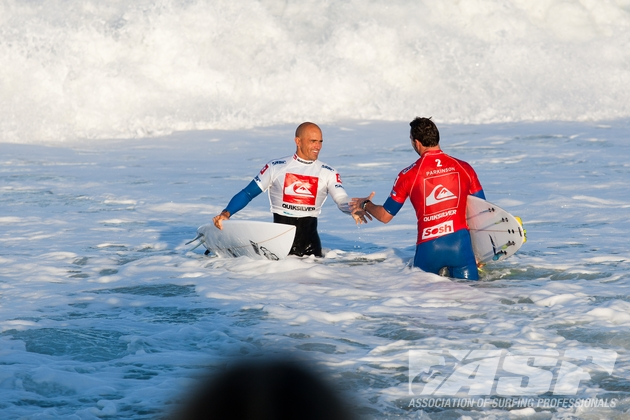 Off to the Quiksilver Pro France, Hossegor, La Graviere 2012. Kelly and Parko. Semi Final number one. Photo: ASP