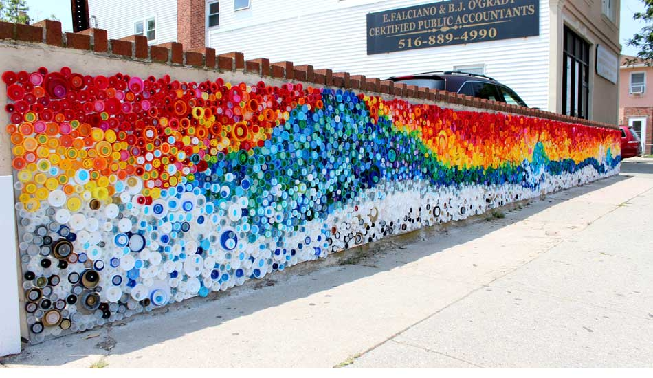 Bottle Cap Wall Art 25,000 plastic caps brighten street corner post-hurricane sandy