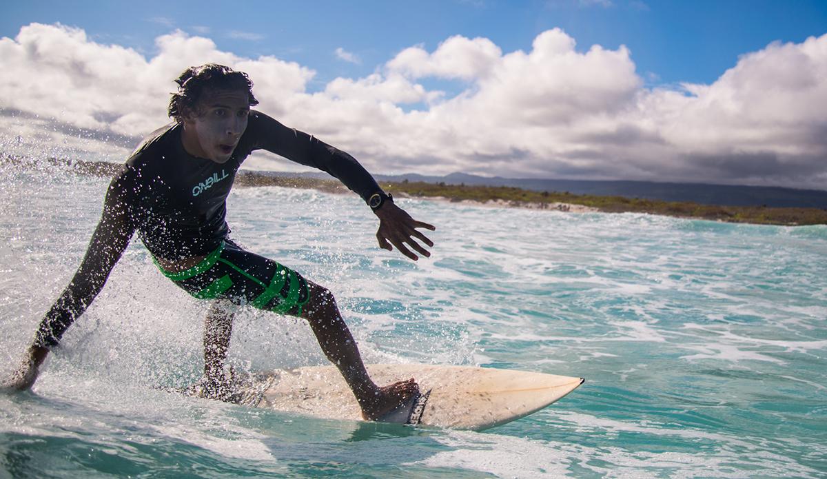 Jean Hidalgo having a fun surf sesh at Santa Cruz. Photo: Maria Fernanda